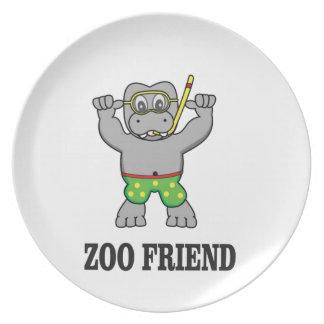 zoo friend hippo plate