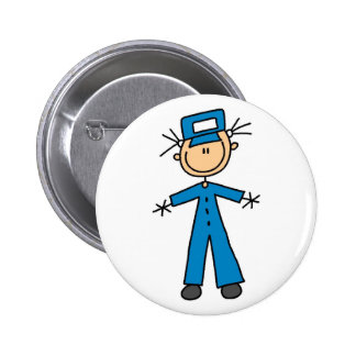 Zoo Keeper Stick Figure Button