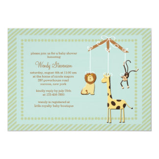 Zoo Mobile Baby Shower Invitation