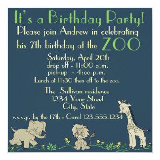 Zoo Themed  Birthday Party 13 Cm X 13 Cm Square Invitation Card