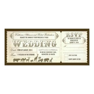Zoo wedding invitation tickets