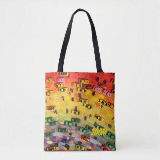 ZOOM!! CARS!! And Bright Colors!-Handbag-Tote Tote Bag