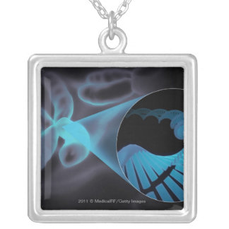 Zoom in of a DNA strand in a chromosome Silver Plated Necklace