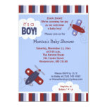 Zooming Aeroplane Invitation Red and Navy