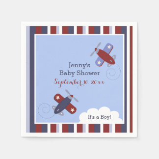 Zooming Along Airplane Customized Napkins Paper Napkin