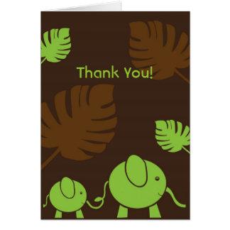 Zou-e the Baby Elephant Thank You Card - Green