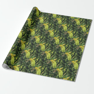 Zucchini plant in blossom in the vegetable garden wrapping paper