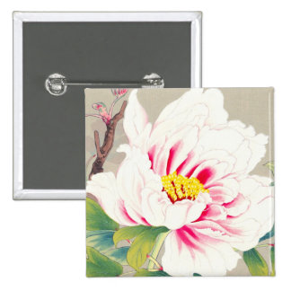 Zuigetsu Ikeda Pink Camellia japanese flower art Pinback Buttons