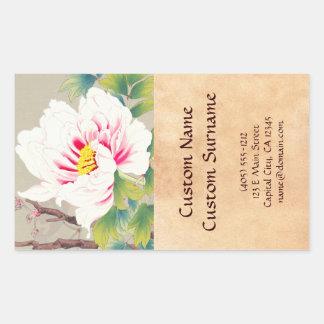 Zuigetsu Ikeda Pink Camellia japanese flower art Rectangle Stickers