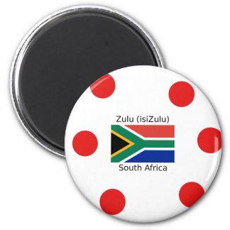Zulu (isiZulu) Language And South Africa Flag Magnet