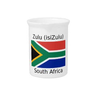 Zulu (isiZulu) Language And South Africa Flag Pitcher