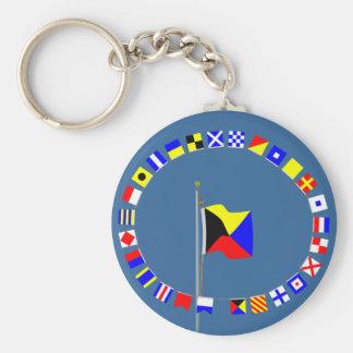 Zulu Require a Tug Nautical Signal Flag Basic Round Button Key Ring