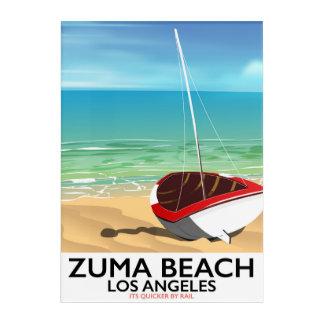 Zuma Beach LA Rail beach poster Acrylic Wall Art