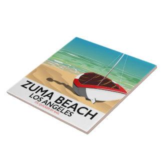 Zuma Beach LA Rail beach poster Ceramic Tile