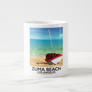 Zuma Beach LA Rail beach poster Large Coffee Mug