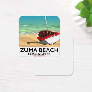 Zuma Beach LA Rail beach poster Square Business Card