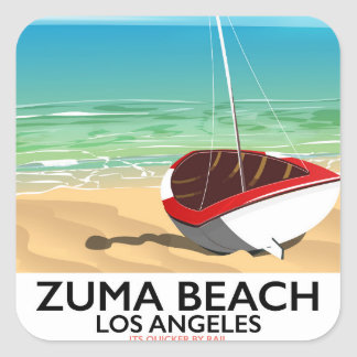 Zuma Beach LA Rail beach poster Square Sticker