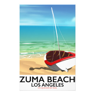 Zuma Beach LA Rail beach poster Stationery