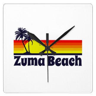 Zuma Beach Square Wall Clock