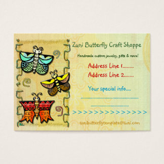 Zuni Butterfly Folk Art CRAFTS HANDMADE TRADING Business Card