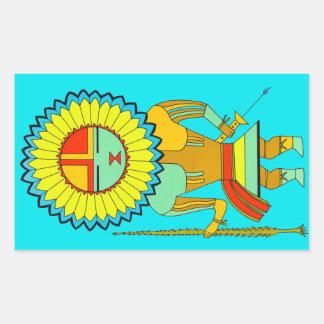 Zuni Man Sunface Rectangular Sticker