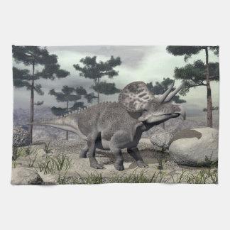 Zuniceratops dinosaur - 3D render Tea Towel