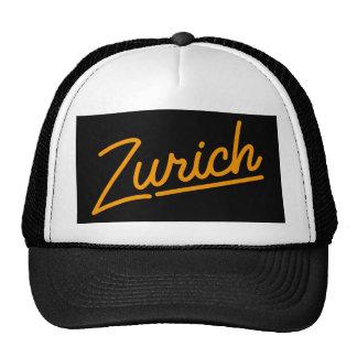 Zurich in orange trucker hat