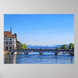 Zurich. Limmat. City Hall and Bridge. Poster