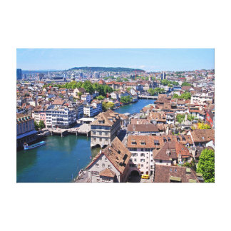 Zurich. Panorama from the Grossmunster Tower. Canvas Print