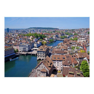 Zurich. Panorama from the Grossmunster Tower. Poster