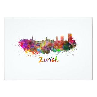 Zurich skyline in watercolor card