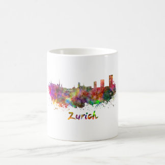 Zurich skyline in watercolor coffee mug