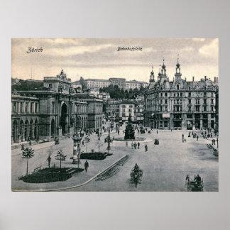 Zurich, Switzerland, Bahnhofplatz, Vintage Poster