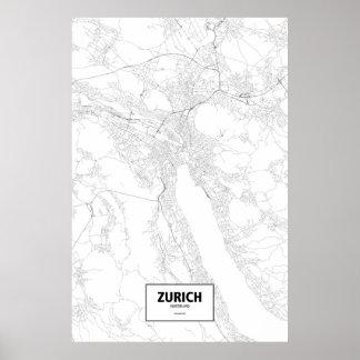 Zurich, Switzerland (black on white) Poster