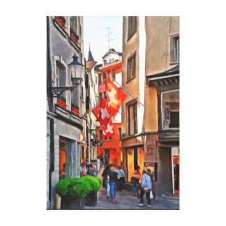 Zurich. The greatness of the flags of Switzerland. Canvas Print
